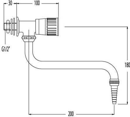 FAR wandkraan voor demi-water met onderuitloop-2