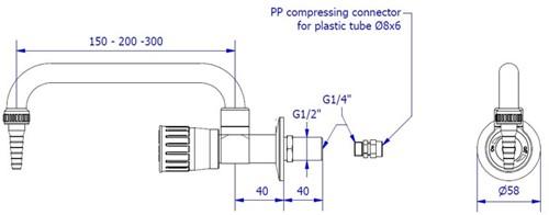 FAR PP wandkraan voor puur water met draaibare uitloop-2