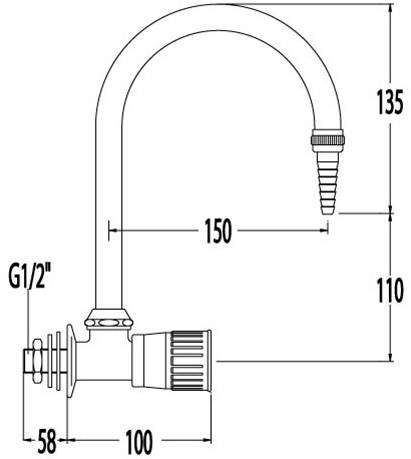 FAR wandkraan voor demi-water met uitloop-2