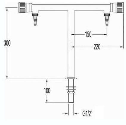 FAR kolomkraan voor demi-water met 2 tappunten, T-model-2