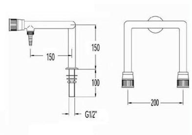 FAR kolomkraan voor demi-water met 2 tappunten-2