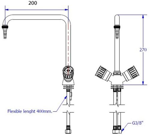 FAR 1-gats mengkraan met draaibare uitloop-2