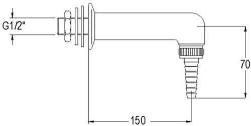 FAR uitloop voor demi-water, wandmontage, vernikkeld-2
