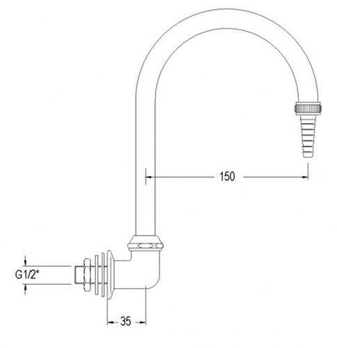 FAR draaibare uitloop voor water, wandmontage-2
