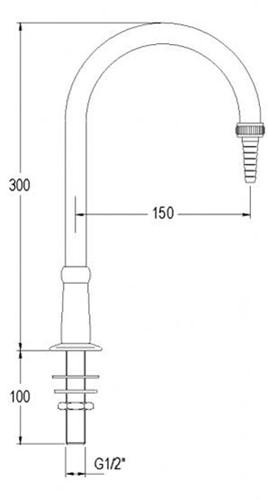 FAR vaste uitloop voor demi-water, bladmontage, vernikkeld-2