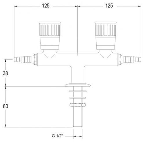 FAR lage kolomkraan met 2 tappunten 180° en borgpin, gas-2