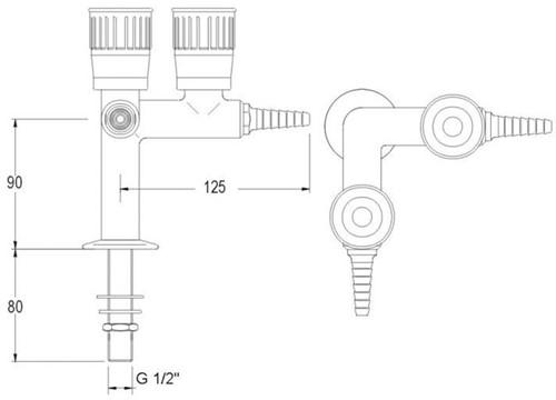 FAR kolomkraan met 2 tappunten 90° en borgpin, brandbaar gas-2