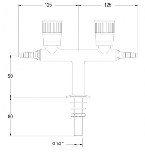 FAR kolomkraan met 2 tappunten 180° en ontvet binnenwerk-2