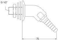 FAR wanduitloop voor gas en technische gassen, 45°-2