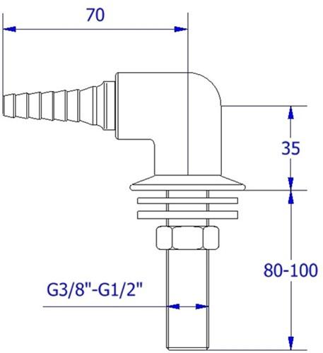 FAR uitloop voor gas en technisch gassen, 90°-2