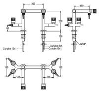 FAR combinatiekraan 2x water, 2x2 gas 90°-2