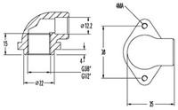 """FAR koppelstuk 90° voor front montage system, 1/2""""-2"""