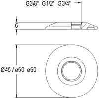 """Rozet ø45mm voor 1/2""""-2"""