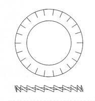 """Metalen getande ring 3/4""""-2"""