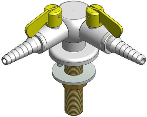 FAR CompactLine kolomkraan met 2 tappunten 90° en borgpin