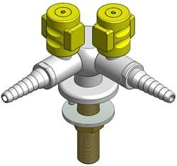 FAR CompactLine gaskraan met 2 tappunten, bladmontage