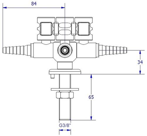 FAR CompactLine kolomkraan met 4 tappunten en borgpin-2