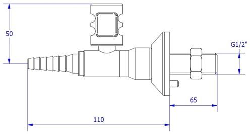FAR CompactLine rechte wandkraan, brandbaar gas-2