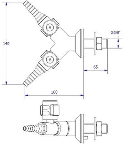 FAR CompactLine 2-way wall mounted gastap-2