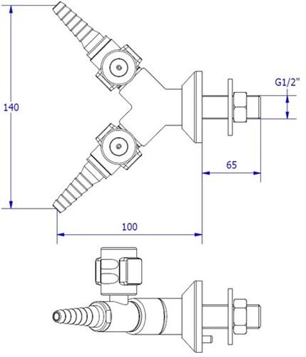FAR CompactLine wandkraan met 2 tappunten, brandbaar gas-2