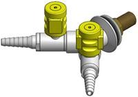 FAR CompactLine wandkraan met 2 tappunten, brandbaar gas
