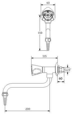 FAR MDS wandkraan water met draaibare onderuitloop-2