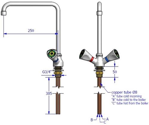 FAR MDS lage druk boilermengkraan met draaibare uitloop-2