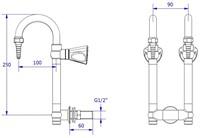 FAR MDS dubbele neerklapbare kraan, wandmontage-2