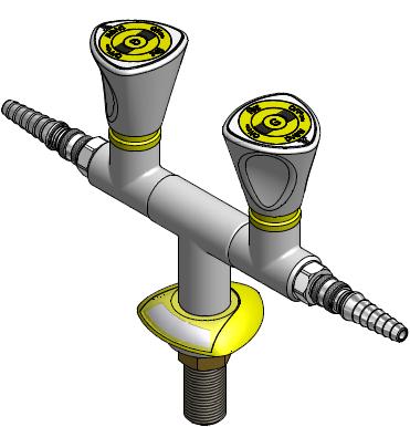 FAR MDS dubbele gaskraan 180° met snelkoppeling