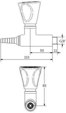 FAR MDS rechte gaskraan voor technische gassen-2