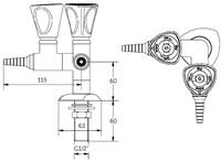 FAR MDS dubbele kraan voor technische gassen 90°-2