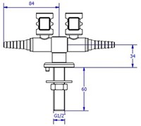 FAR MDS CompactLine dubbele gaskraan 180°-2