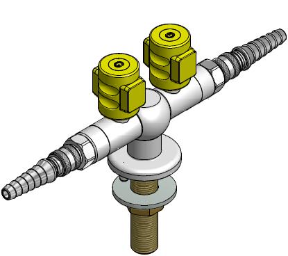 FAR MDS CompactLine dubbele gaskraan 180°  met snelkoppeling