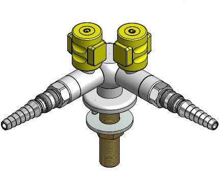 FAR MDS CompactLine dubbele gaskraan 90° met snelkoppeling