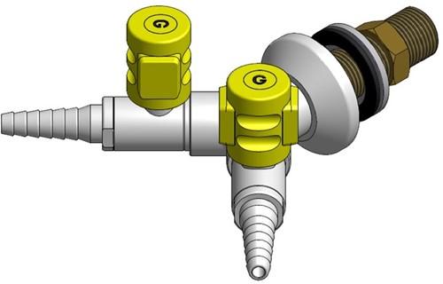 FAR MDS CompactLine dubbele gaskraan 90°