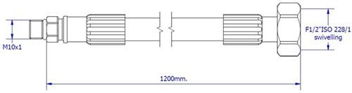"""FAR MDS SPX aansluitslang, lengte 1200mm, M10  x G1/2""""-2"""