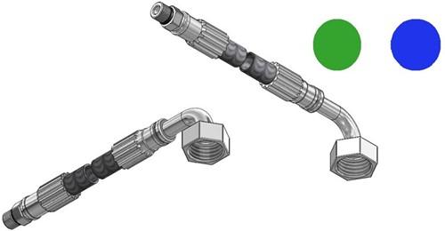 """FAR MDS SPX aansluitslang, lengte 1500mm, M10  x G1/2"""" 90°"""