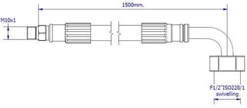 """FAR MDS SPX aansluitslang, lengte 1500mm, M10  x G1/2"""" 90°-2"""
