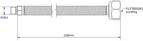 "FAR MDS SSN aansluitslang, lengte 1200mm, M10  x G1/2""-2"