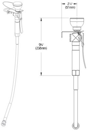 Bradley knijpdouche met RVS muurbeugel-2