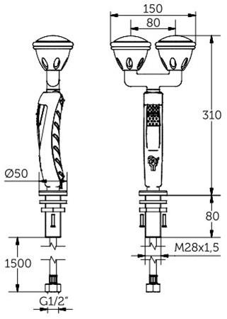 FAR MDS knijpdouche met dubbele sproeikop-2