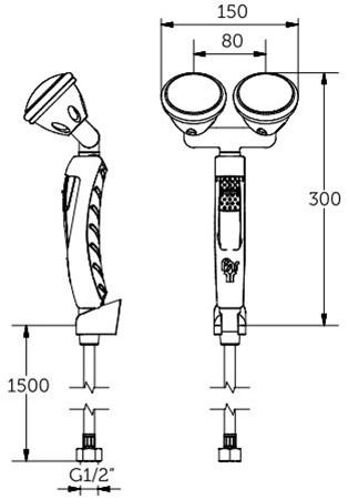 FAR MDS knijpdouche met dubbele sproeikop 45°-2