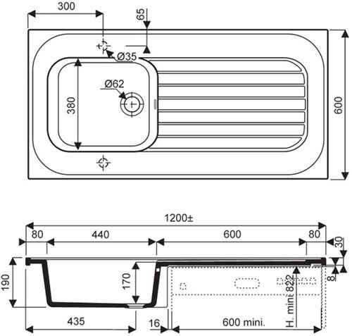 Porseleinen spoelblad 1200x600mm-2