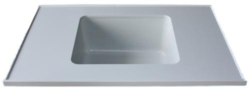 PP worktop with raised edge, up to 750mm wide
