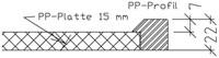 PP werkblad met waterkering, tot 750mm diep, 15/22mm-3