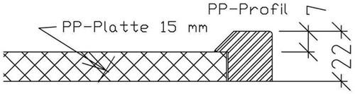 PP werkblad met waterkering, tot 900mm diep, 15/22mm-3