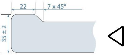 KeraLab op maat gesneden werkblad, voorzijde standaard waterkering, lichtgrijs (ALU)