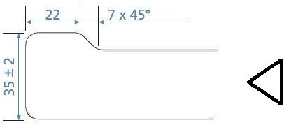 KeraLab op maat gesneden werkblad, voorzijde standaard waterkering, wit (Polar)