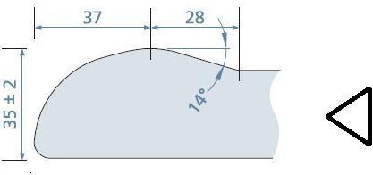 KeraLab op maat gesneden werkblad, voorzijde ronde waterkering, lichtgrijs (ALU)