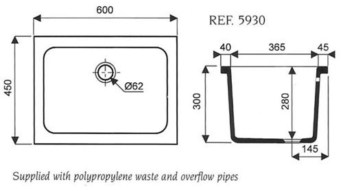 Keramische spoelbak 600x450x280mm met overloop-2